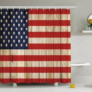Shower Curtain Wooden Plank USA Flag Pattern Print